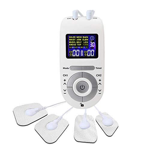 Calistouk TENS EMS Unidad Terapia 4 Almohadillas de electrodos Alivio del dolor Masaje de pulso Estimulación muscular Electroestimulador blanco