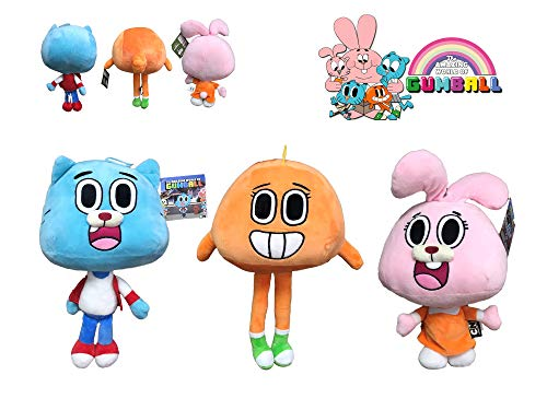GMBALL Lo Straordinario Mondo di Gumball - Confezione 3 Peluche della Serie Gumball: Darwin (Arancione), Gumball (Blu), Anaïs (Rosa) 12 '/ 30 cm - qualità Super Soft