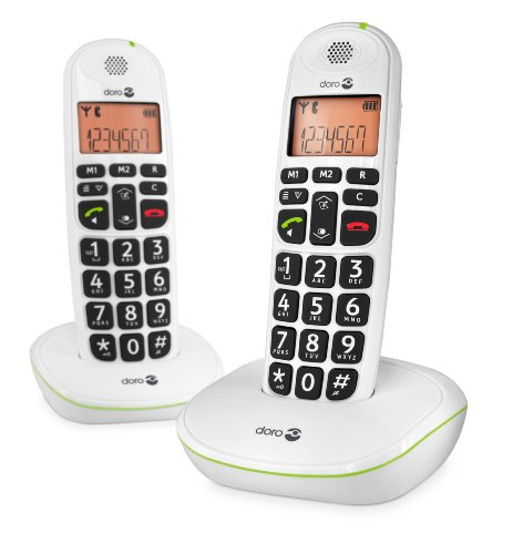 Doro PhoneEasy 100W DECT Cordless Phone with Amplified Sound and Big Buttons (Twin Set)