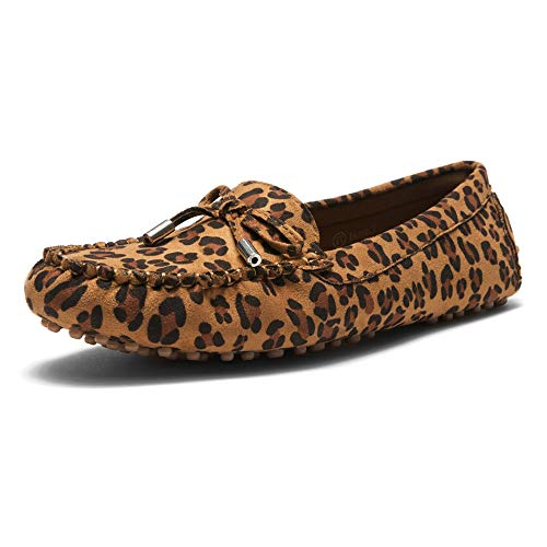 Herstyle Canal Women's Casual Bowknot Penny Loafers Moccasins Driving Shoes Slip on Flat Boat Shoes Leopard 10.0