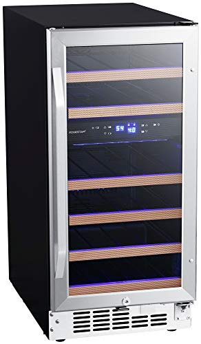EdgeStar CWR263DZ 15 Inch Wide 26 Bottle Built-In Wine Cooler with Dual Cooling...