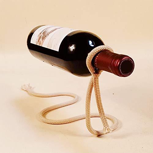 CYONGYOU Ambachtelijke ketting wijnrek magische hangende flessenrek wit touw wijnflesrek praktische thuiskeuken bar