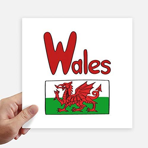 DIYthinker Wales Nationale Vlag Rood Groen Patroon Vierkante Stickers 20Cm Wandkoffer Laptop Motobike Decal 4 Stks