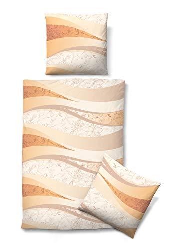 biberna 0003441 Bettwäsche Garnitur mit Kopfkissenbezug Baumwoll Seersucker 2x 135x200 cm + 2x 80x80 cm, gold