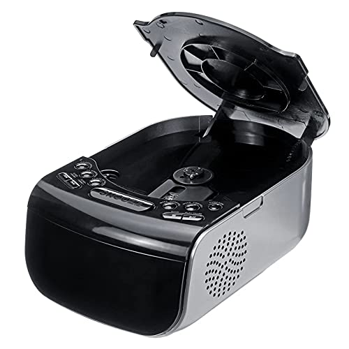TSMALL Lecteur de Musique CD, réveil numérique LCD, Radio Am/FM à Deux Haut-parleurs, contrôle du Volume, luminosité réglable,Noir