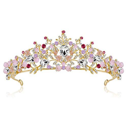 QiKun-Home Fashion Luxury Crystal Bridal Crown Diademi Diademi Diademi per Le Donne Accessori per Capelli da Sposa da Sposa DA003-B Oro Rosa DA003-BKC