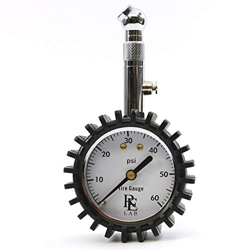 RE LAB INC Compact Tire Pressure Gauge with Integrated Hold Valve  60PSI