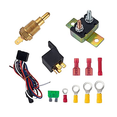 NERR YULUBAIHUO Motor del automóvil Ventilador de enfriamiento Termostato Temprost Temp Interruptor Sensor Kit de relé 200 Apartado para 185 Grados