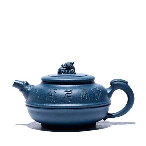 Wsliqrti Tetera de Arcilla púrpura Master Yixing Mineral Crudo Arcilla Azul Hecha a Mano, Tetera de bambú, Tetera, Juego de té-Azul