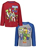 Disney Pixar Toy Story Buzz Lightyear Toddler Boys 2 Pack Long Sleeve T-Shirts 3T Gray/Red