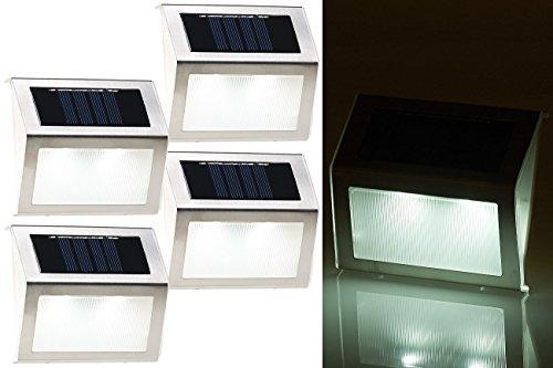 Lunartec Treppenleuchte: 4er-Set Solar-LED-Wand- & Treppen-Leuchten für außen, Edelstahl, 20 lm (Solarleuchten für Treppenstufen)