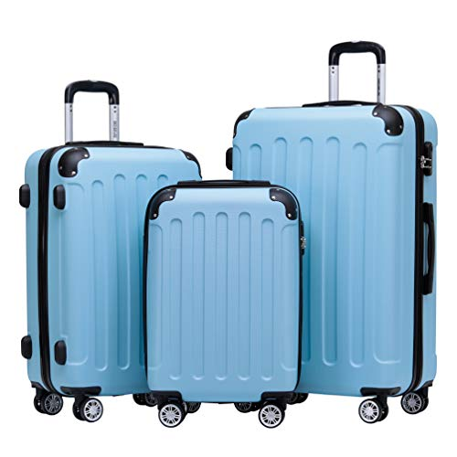 BEIBYE 2045 Zwillingsrollen 3tlg. Reisekoffer Koffer Kofferset Trolleys Hartschale in 14 Farben (Glacial Blue)
