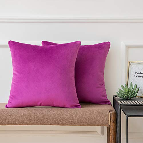 Ashler Pack of 2 Soft Velvet Decorative Throw Pillow Cushion Cover Sets Violet 18 X 18 Inches45 X 45 cm