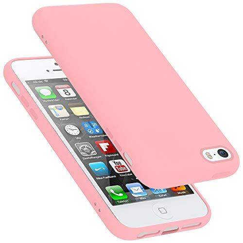 Cadorabo Custodia per Apple iPhone 5 in LIQUID ROSA - Morbida Cover Protettiva Sottile di Silicone TPU con Bordo Protezione - Ultra Slim Case Antiurto Gel Back Bumper Guscio