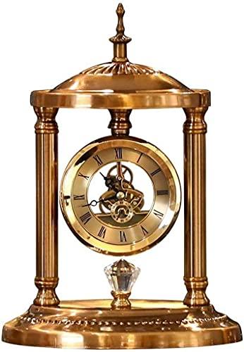 Relojes de mesa de metal de calidad silenciosa, reloj de escritorio silencioso, relojes de repisa, movimiento transparente, decoración del hogar para sala de estar, dormitorio, mesita de noc
