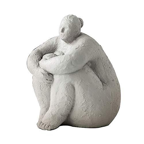JUSUNG Yoga Statue,Fat Lady Woman Skulptur,Harz Luft Statue,handgefertigt Tischplatte Startseite Büro Dekoration Geschenke Sicherheit C 14x14x17.5cm(5.5x5.5x6.9inch)