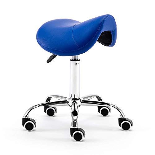 MYJZY Silla de Montar Profesional Taburete Giratorio Hidráulico Cómodo ergonómico con Base de Metal para clínica Dentista SPA Salones de Masaje Estudio,Azul