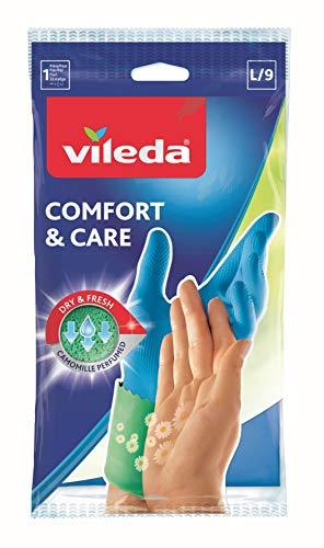 Vileda Comfort und Care Gummihandschuhe mit Kamille Lotion Größe L, 1 Paar