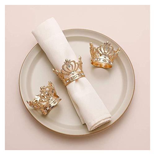 Servilleteros, 6pcs / lote anillo de la servilleta de la corona anillo de la servilleta de anillo de tejido metálico adecuado para el banquete de boda Decoración de fiesta de fiesta para la decoración