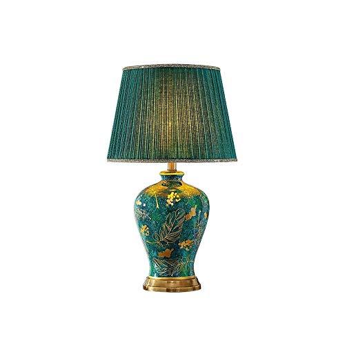 QINGCHUNW Lámpara de Mesa de cerámica, lámpara de Noche de Dormitorio, Sala de Estar de atenuación de la Mesa de la Mesa de botón Retro, Copete con Estampado Floral Verde
