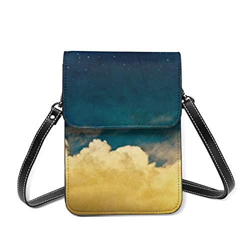 Las mujeres del teléfono celular bolso de cuero bolsos de hombro multi color papel pequeño RFID bloqueo cartera con ranuras para tarjetas, Luna Cloudscape, Talla única
