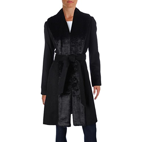 ELLEN TRACY Women's Faux Fur Trim Wool Wrap Coat Black Size 10