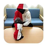 ペットマッチング服パッチワーク犬パーカーファッション犬コートジャケットS 6XL中大型犬コスチューム子犬ペット服-赤-ペット用5XL