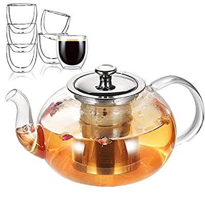 40 oz Glass Teapot with Removable Stainless Steel Infuser, Tea Pot Pot Set with 6 Double Wall Cups, Tea Kettle for Blooming, Flowering & Loose Tea, Microwave & Dishwasher Safe Tea Maker