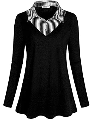 Rhoizma Long Sleeve Casual Office Work Tunic Tops V Neck Stripes Button Down Blouse Shirts