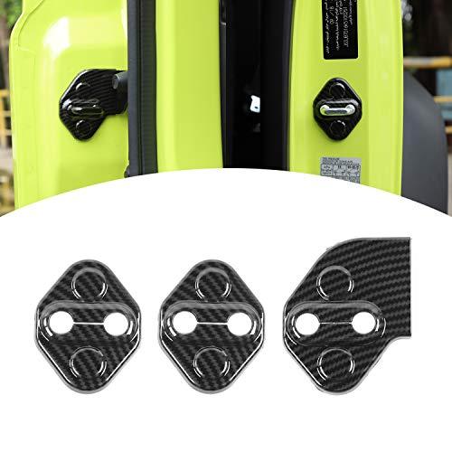 ANTC 車用ドアロックカバー スズキ ジムニー 2019+専用 ABS 高耐久 取付け簡単 3個セット Jimny カーアクセサリー (カーボン調)