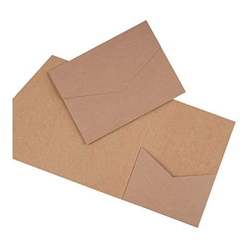 Papermane Pocketfold Karte B6/C6 - Einladung Hochzeit - Blanko, Kraftpapier Naturkarton (Kraft-braun mit Umschlägen, 50)