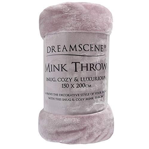Dreamscene - Coperta in finta pelliccia di visone, 125 x 150 cm, per divano letto, in poliestere, colore: rosa cipria