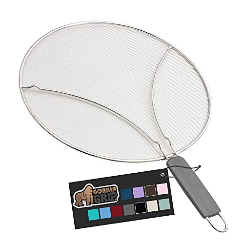 Gorilla Grip Splatter Screen, Stainless Steel Fine Mesh Screens for Frying Pan, Resting Feet, Shield Grease and Oil Splashes, Helps Protect from Cooking and Bacon Splatters, 11.8 Inch, Gray Handle