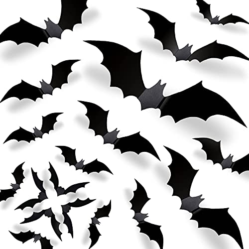 Halloween 3D Bats Decorations 2021 Upgraded, 70 Pcs 5 Different Sizes Reusable PVC Scary Black DIY Bat Stickers Realistic Vintage Goth Wall Decals for Home Decor Bathroom Garage Front Door Office Kitchen Window Indoor Outdoor Gothic Spooky Hallowmas Party Supplies
