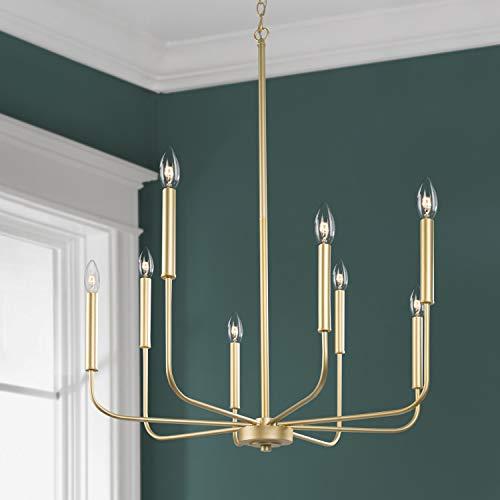 KSANA Lámpara de araña de oro moderna para dormitorio, vestíbulo, comedor y sala de estar, cocina y entrada (versión actualizada, 2 tipos de altura 8 brazos)