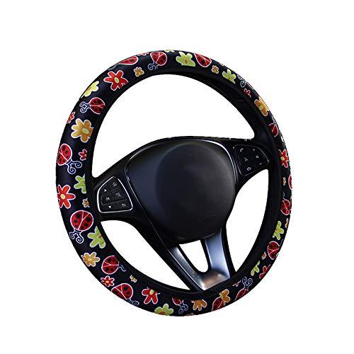Generic Coprivolante per Auto, Universale da 15 Pollici in Tessuto di Seta Ad Alta Elasticità Proteggi Volante per Auto con Simpatico Motivo Beatles, Adatto per La Maggior Parte delle Auto