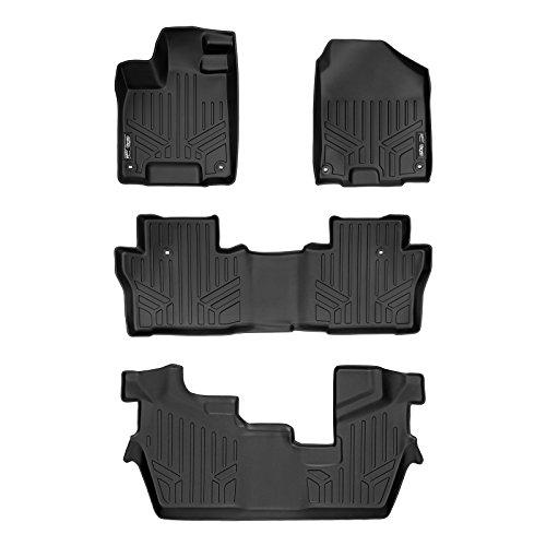 MAXLINER Custom Fit Floor Mats 3 Row Liner Set Black for 2016-2019 Honda Pilot 8 Passenger Model (No...