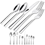 Brightown 45-Piece Silverware Flatware Cutlery Set in Ergonomic Design Size and Weight, Durable Stainless...