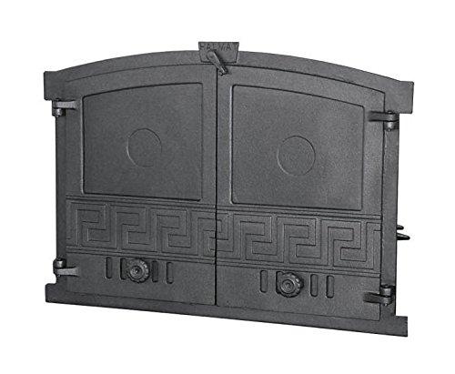 Tradehub Backofentür Ofentür Pizzaofentür Holzbackofentür Steinbackofentür aus Gusseisen | Außenmaße: 600x430 mm | Öffnungsrichtung: zweiflügelig