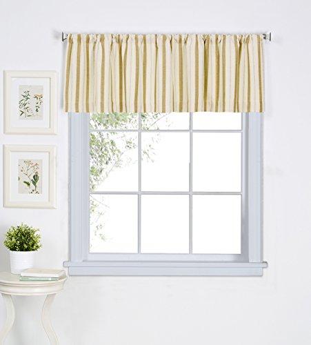 "Elrene Home Fashions 26865775693 Rod Pocket Stripe Café/Kitchen Valance Window Curtain, 60"" x 15"", Gold"