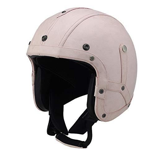 Woljay Leather Motorcycle Goggles Vintage Half Helmets Motorcycle Biker Cruiser Scooter Touring Helmet (Pink, M)