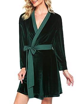 Ekouaer Women s Robe Soft Kimono Robe Velvet Robe Knee Length Comfort Velvet Sleepwear Dark Green,Small