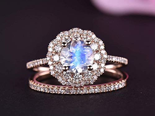 Round Moonstone Engagement Ring Sets Full Cut Diamond Wedding Band 14k Rose Gold 6.5mm