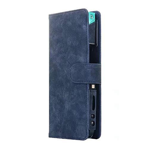 Ecig Travel Carry Vape Case, IQOS Bag Fashionable Accessories for Your E-Cigarette Imitation Leather with Card Slot Cigarette Case-Blue
