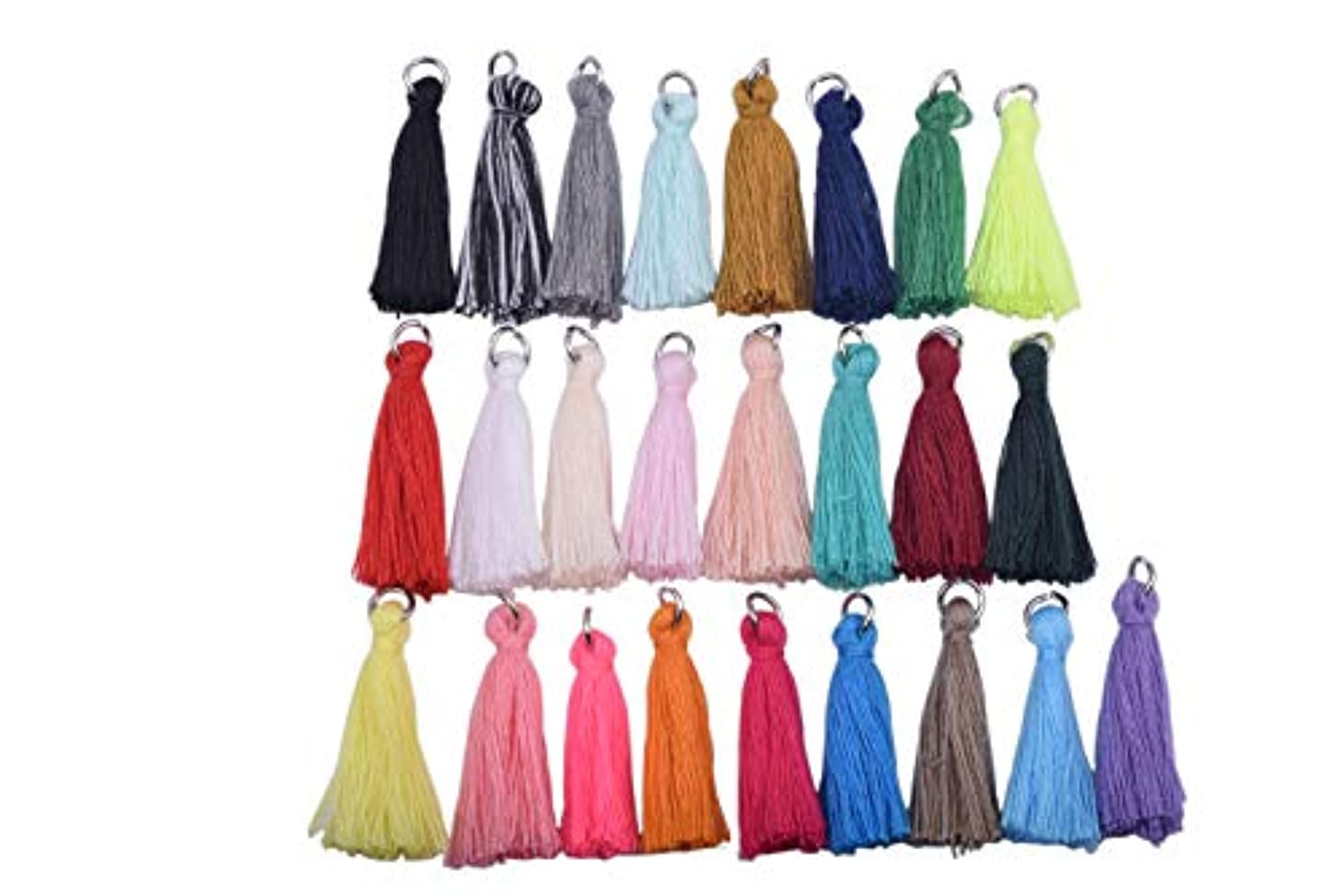 KONMAY 50PCS 1.4''(3.5cm) Tiny Craft Tassels with Rhodium Jump Ring for Jewelry Crafting Projects Garments(Randomly Mixed)