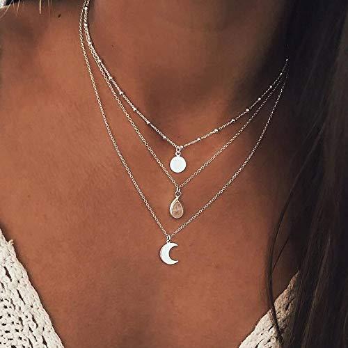 Yienate, collana a strati in stile bohémien, con paillettes, ciondolo a goccia d'acqua e luna, collana a strati per donne e ragazze