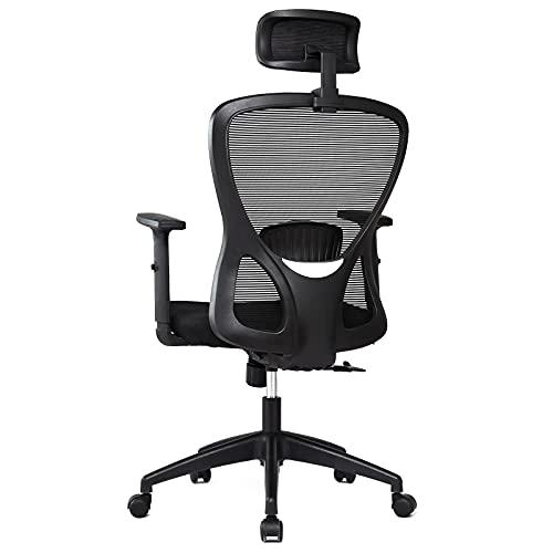 Intimate WM Heart Bürostuhl, Ergonomisch Schreibtischstuhl aus Mesh, Höhenverstellbarer Drehstuhl, mit Verstellbarer Kopfstütze und Armlehne, Schwarz