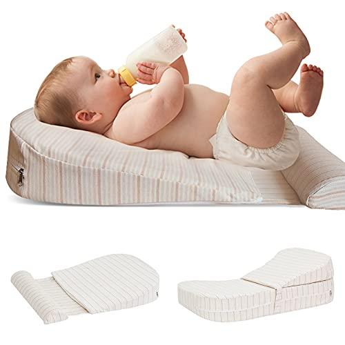 Aromagood Baby-Fütterkissen, Anti-Spuck-Milchkissen, 30° Neigung, Baby-Seitenschläfer-Keilkissen mit herausnehmbarem, waschbarem, sicherem 0-3 Jahre alt
