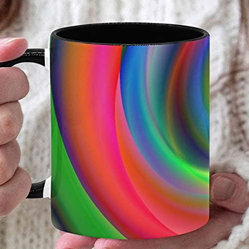 Taza personalizada de 11 oz Caramelo Dulce Chakras Espiral Colorido Meditación Tazas divertidas para mamá Tazas personalizadas para café usado para café Té caliente Beber Interior negro con asa