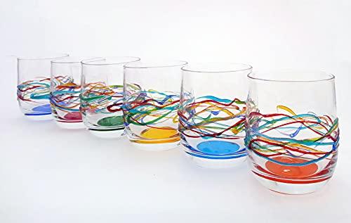 Set mit 6 Gläsern Jazz Wasser cl. 27 multicolour von Hand bemalt Glas, Murano Venedig Stil